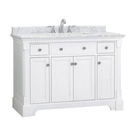 OVE Decors Claudia 48 in. White Single Sink Vanity with Carrara Marble Top