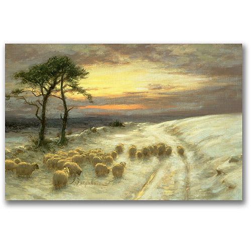 "Trademark Fine Art ""Sheep In The Snow"" Canvas Wall Art by Joseph Farquharson"