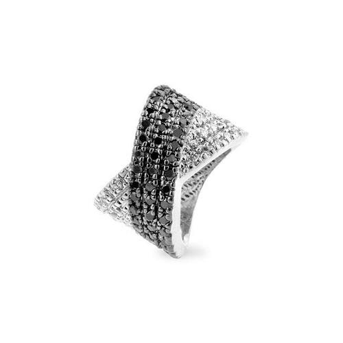 Kate Bissett R07982T-C03-09 Genuine Rhodium Plated Ring with Black Jewelers Ink Accents Featuring a Crossed Pattern of