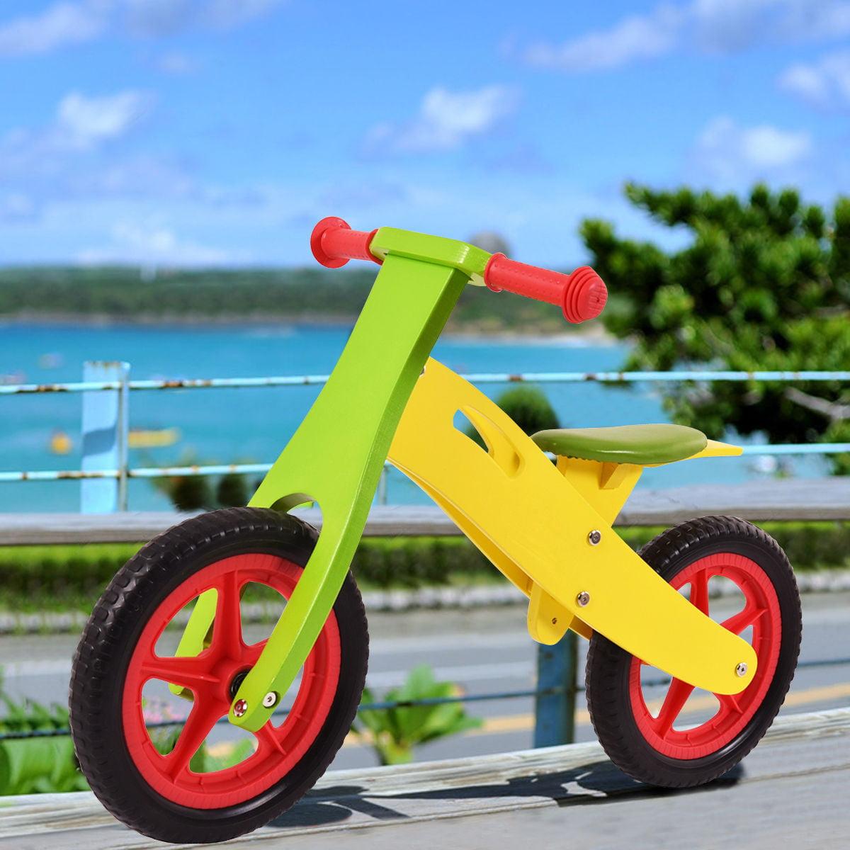 "GHP Green & Yellow 12"" Wheel 66Lbs Capacity Kids Balance Bike with Adjustable Seat"