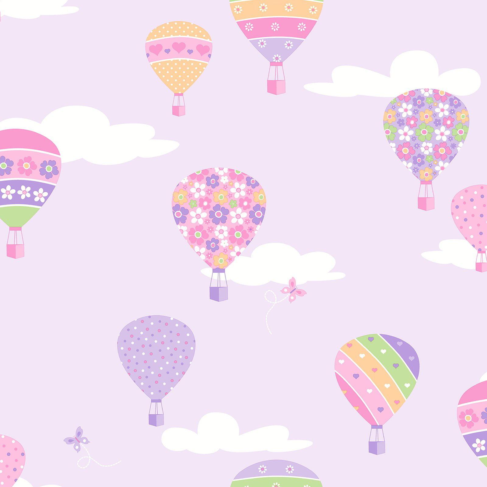 Brewster Hot Air Balloons Lilac Balloons Wallpaper