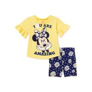 Minnie Mouse Baby Girls & Toddler Girls Ruffle Sleeve T-Shirt & Bike Shorts, 2-Piece Outfit Set, Sizes 12M-4T