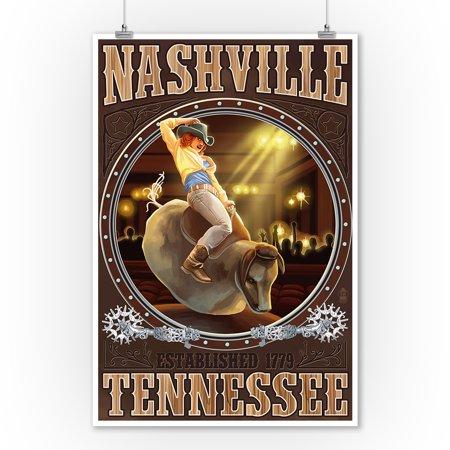 Nashville, Tennessee - Cowgirl & Mechanical Bull - Lantern Press Poster (9x12 Art Print, Wall Decor Travel - Cowgirl Wall Decor