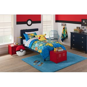 "Pokemon ""First Starters"" 4 Piece Twin Bed in a Bag Bedding Set- Comes with Comforter, Pillowcase and Sheets"