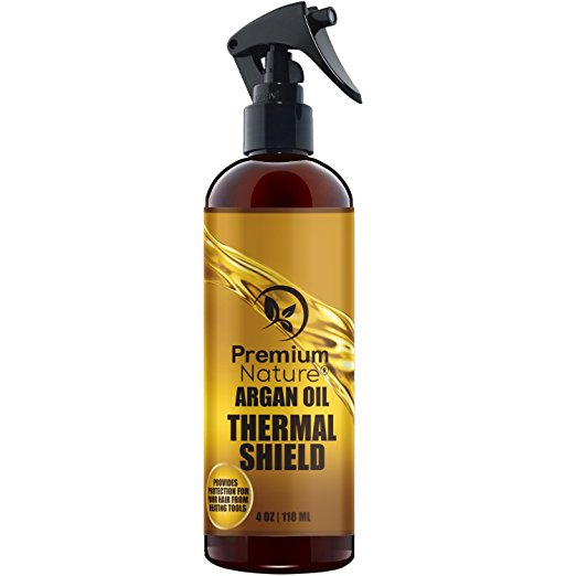 Argan Oil Hair Protector 100% Organic Spray, -8 Oz- Protects & Heals Hair from Heat, Flat Iron, Blow Dryer, By Premium Nature