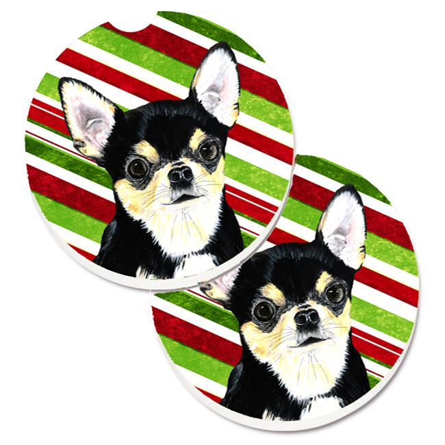 Carolines Treasures SC9359CARC Chihuahua Candy Cane Holiday Christmas Set of 2 Cup Holder Car Coaster - image 1 of 1