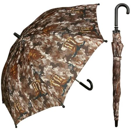 Horses Umbrella (Rainstoppers Unisex Kids Brown Western Boot Horse Print 32