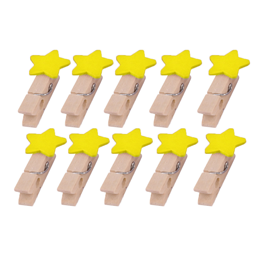 Wooden Star Shaped DIY Craft Photo Picture Post Card Decor Clip Yellow 10pcs