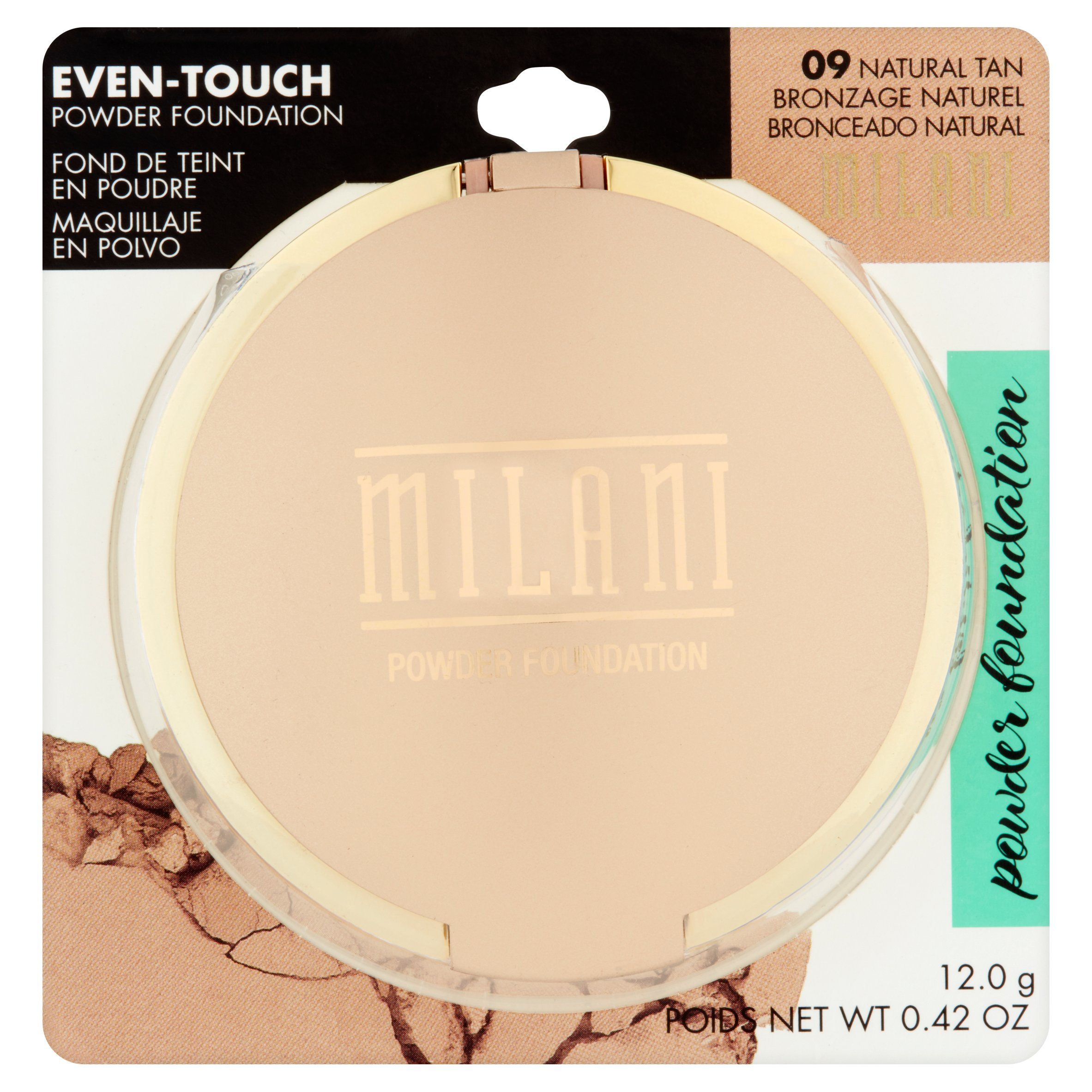 Milani Even-Touch 09 Natural Tan Powder Foundation, 0.42 oz