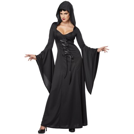 California Costumes Deluxe Hooded Robe Costume 1338 Black - Witch Robe