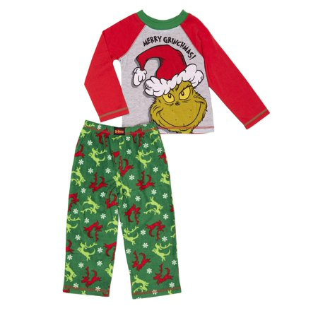 Dr. Seuss The grinch christmas graphic long sleeve top & pants pajamas, 2pc set (toddler - Christmas Pajamas Toddlers