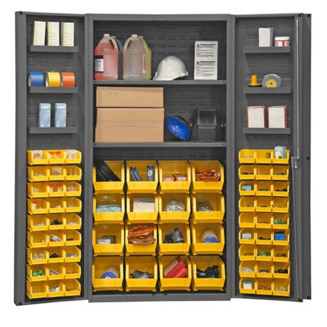 14 Gauge Lockable Cabinet with 64 Yellow Hook on Bins & 2 Adjustable Shelves & 6 Door Shelves, Gray - 36 x 24 x 72 in.