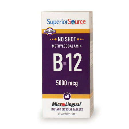 Superior Source No Shot Methylcobalamin B12 5000mcg, MicroLingual® Tablets, 60 Count
