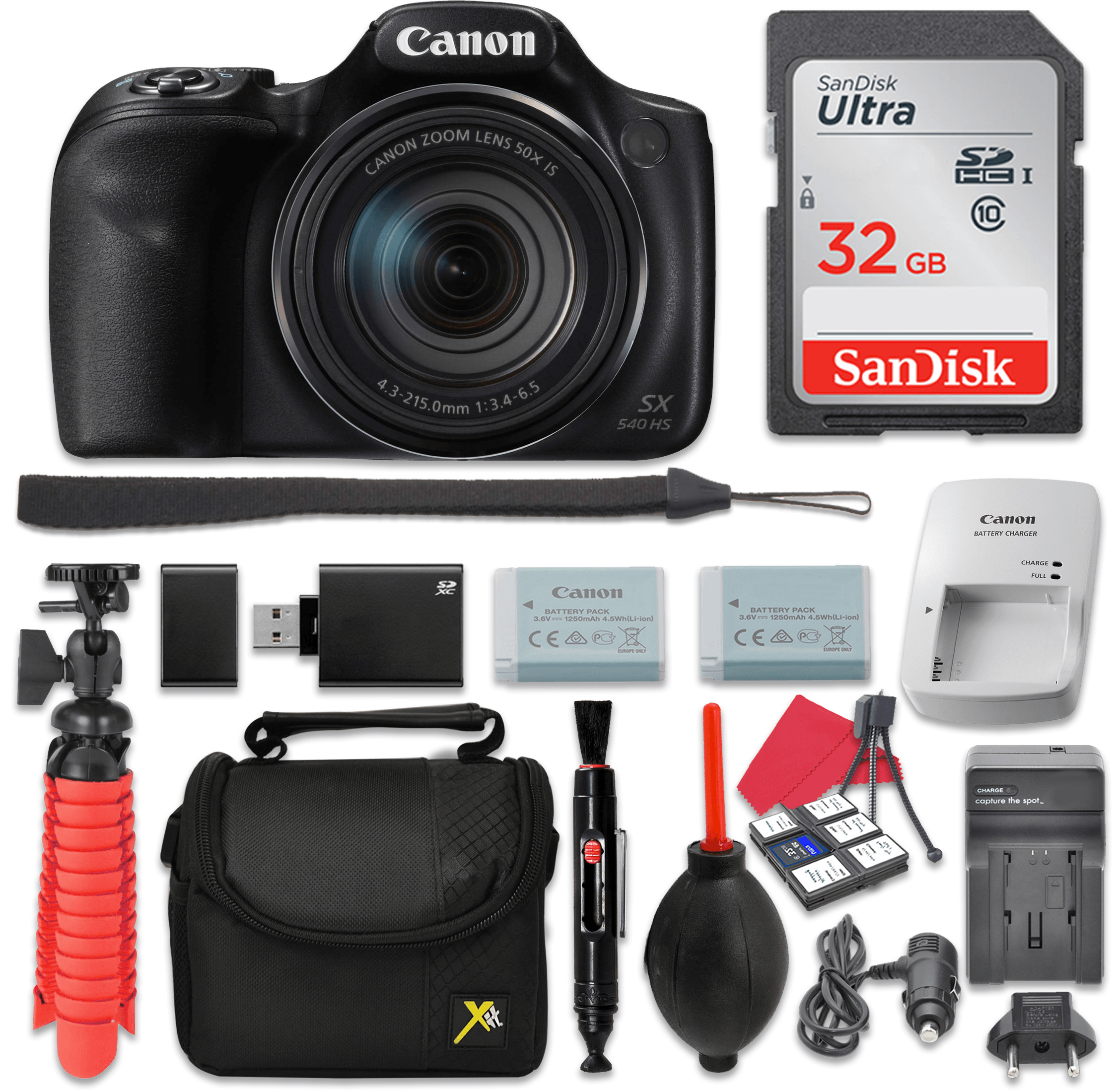 Canon PowerShot SX540 Digital Camera 50x Optical Zoom + 32GB SD + Spare Battery + Complete Accessory Bundle