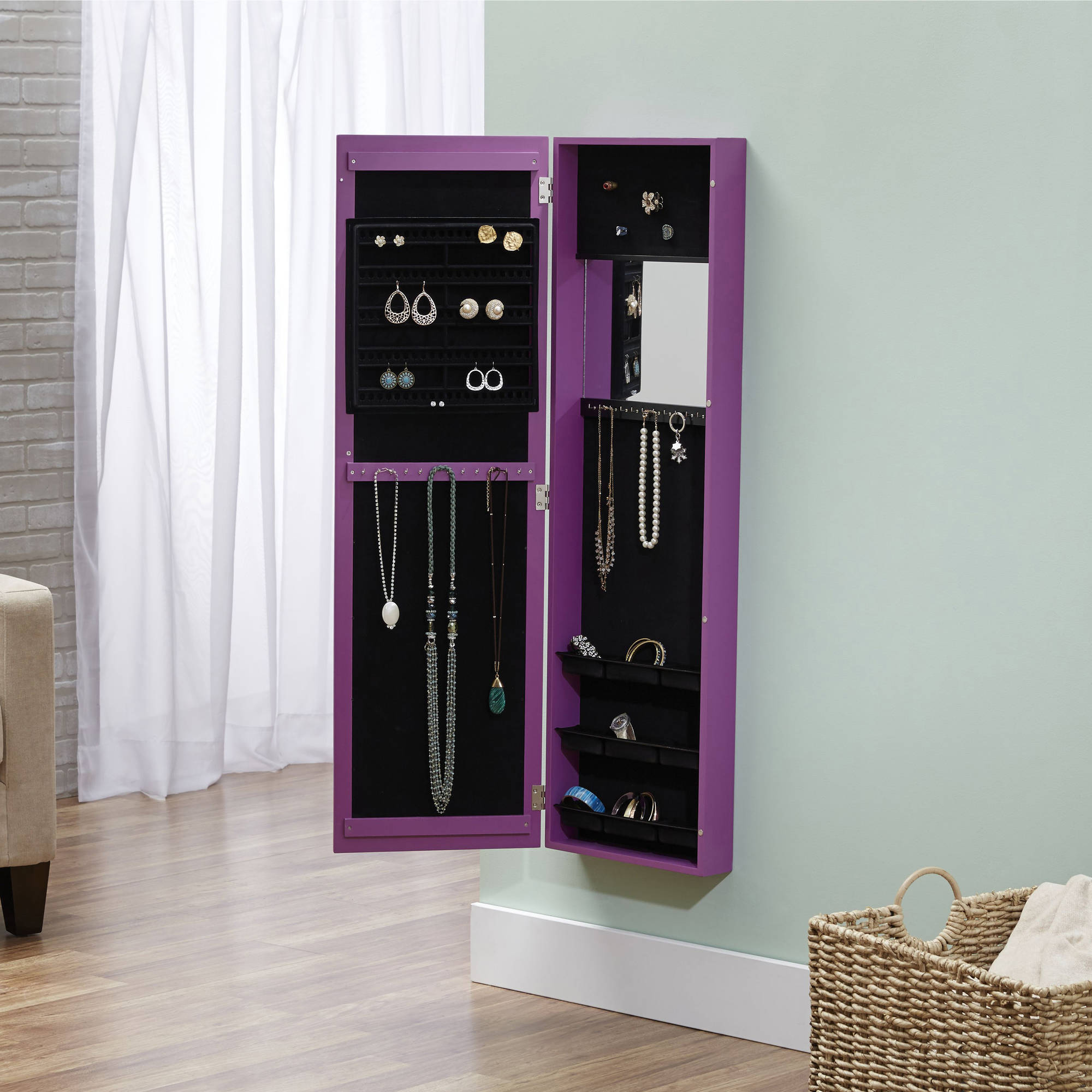 Wall Mount Jewelry Armoire Mirror innerspace over-the-door/wall-hang/mirrored jewelry armoire