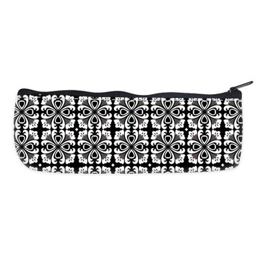 POPCreation Black Large Flowered Quatrefoil School Pencil Case Pencil Bag Zipper Organizer Bag