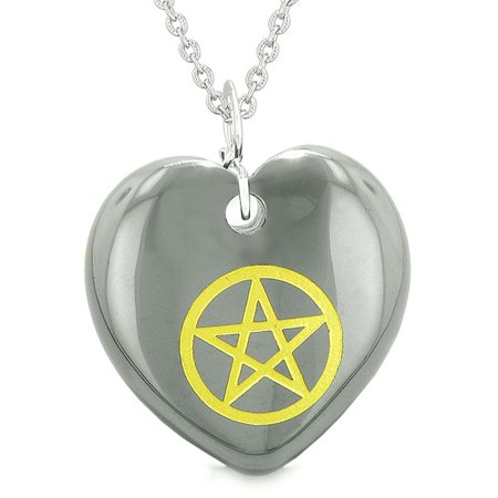 Amulet Magical Pentacle Energy Protection Powers Puffy Heart Hematite  Pendant 22 inch Necklace