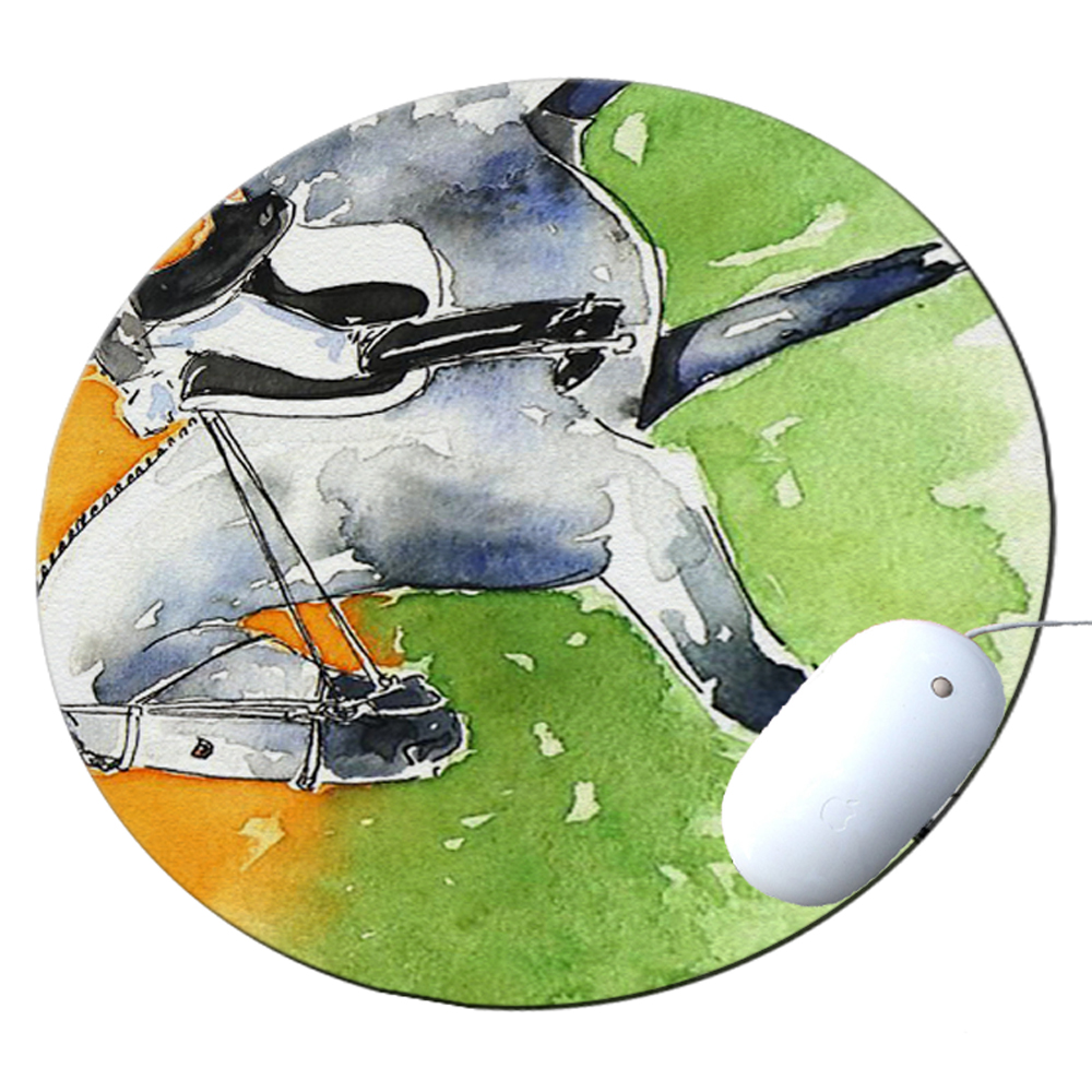 KuzmarK Round Mousepad / Hot Pad / Trivet - Dappled Gray Andalusian Dressage Horse Art by Denise Every