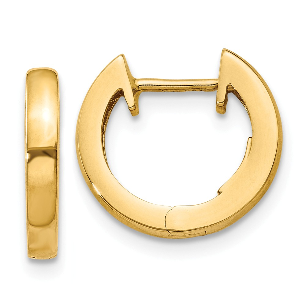 14k Yellow Gold 2mm Polished Hinged Hoop Huggie Style Earrings (9MM Long x 2.5MM Wide)