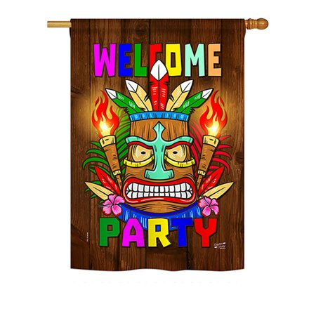 Angeleno Heritage - Welcome Tiki Party Special Occasion - Everyday Party & Celebration Impressions Decorative Vertical House Flag 28