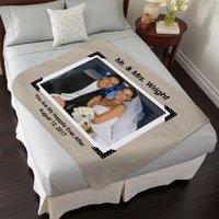 Personalized Vintage Photo Message Plush Blanket - Available in 5 Colors
