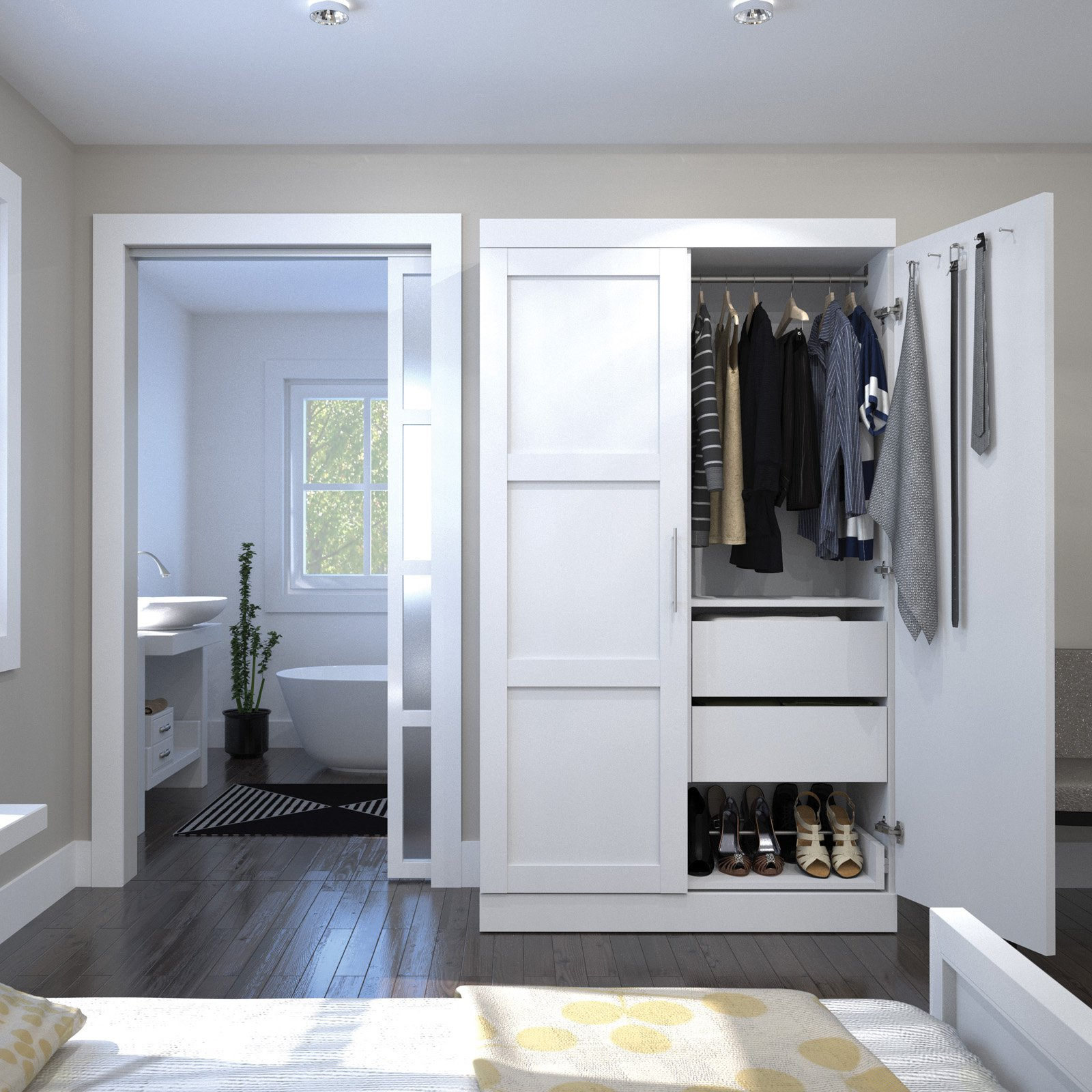 Pur by Bestar Pullout Armoire in White