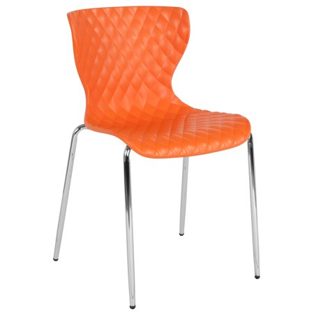 Flash Furniture Lowell Contemporary Design Orange Plastic Stack Chair ()