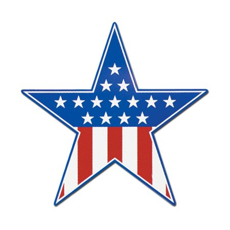 Club Pack of 24 Red, White and Blue Patriotic Star Cutout Party Decorations 15