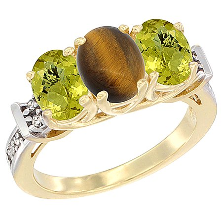 14K Yellow Gold Natural Tiger Eye & Lemon Quartz Sides Ring 3-Stone Oval Diamond Accent, sizes 5 - 10