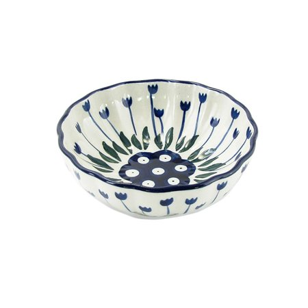 (Polish Pottery 4.5'' Fluted Dessert Dish Handmade Boleslawiec Stoneware Pattern  023-377Z)
