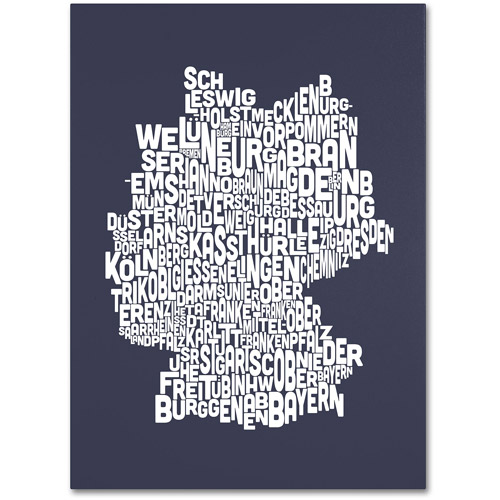 Trademark Art 'SLATE-Germany Regions Map' Canvas Art by Michael Tompsett