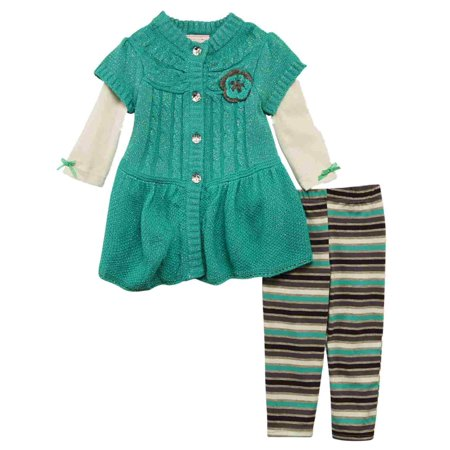 e716d71c9 Infant   Toddler Girls Outfit Metallic Green Sweater Shirt   Stripe ...