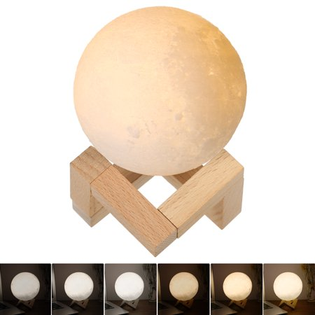 9cm Diameter PLA USB Rechargeable 3D Printing Moon Light 2-Colors Dimmable Touch Sensor Control Luna Night Lamp Bedroom Decor with Wooden Stand