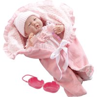 "JC Toys 15.5"" Soft Body La Newborn baby Doll in deluxe bunting and doll accessories - Perfect for Children 2+"