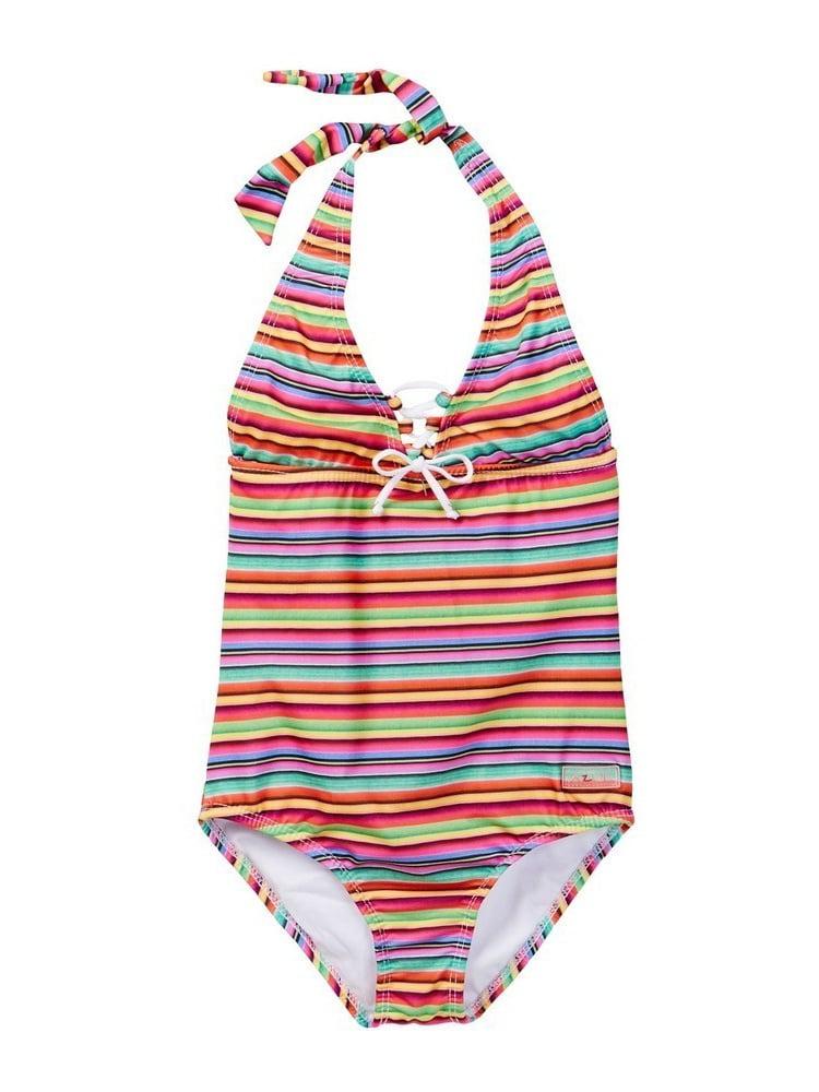 Azul Little Girls Multi Color Stripe Machu Pichu Halter One Piece Swimsuit