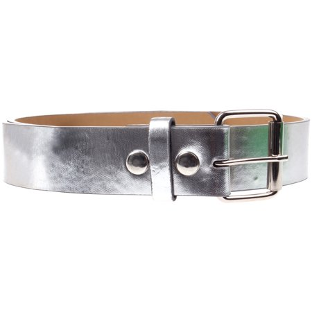 (Men's Women's Genuine Leather Belt Trim To Fit Replaceable Snap On Buckle Silver X-Large)