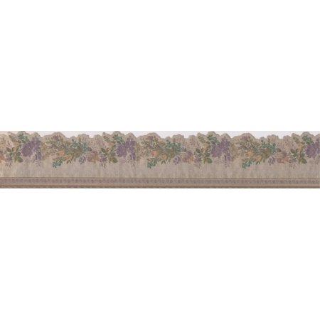 Purple Yellow Roses Floral Beige Wallpaper Border Retro Design, Roll 15' x 4.25'' - image 2 of 3