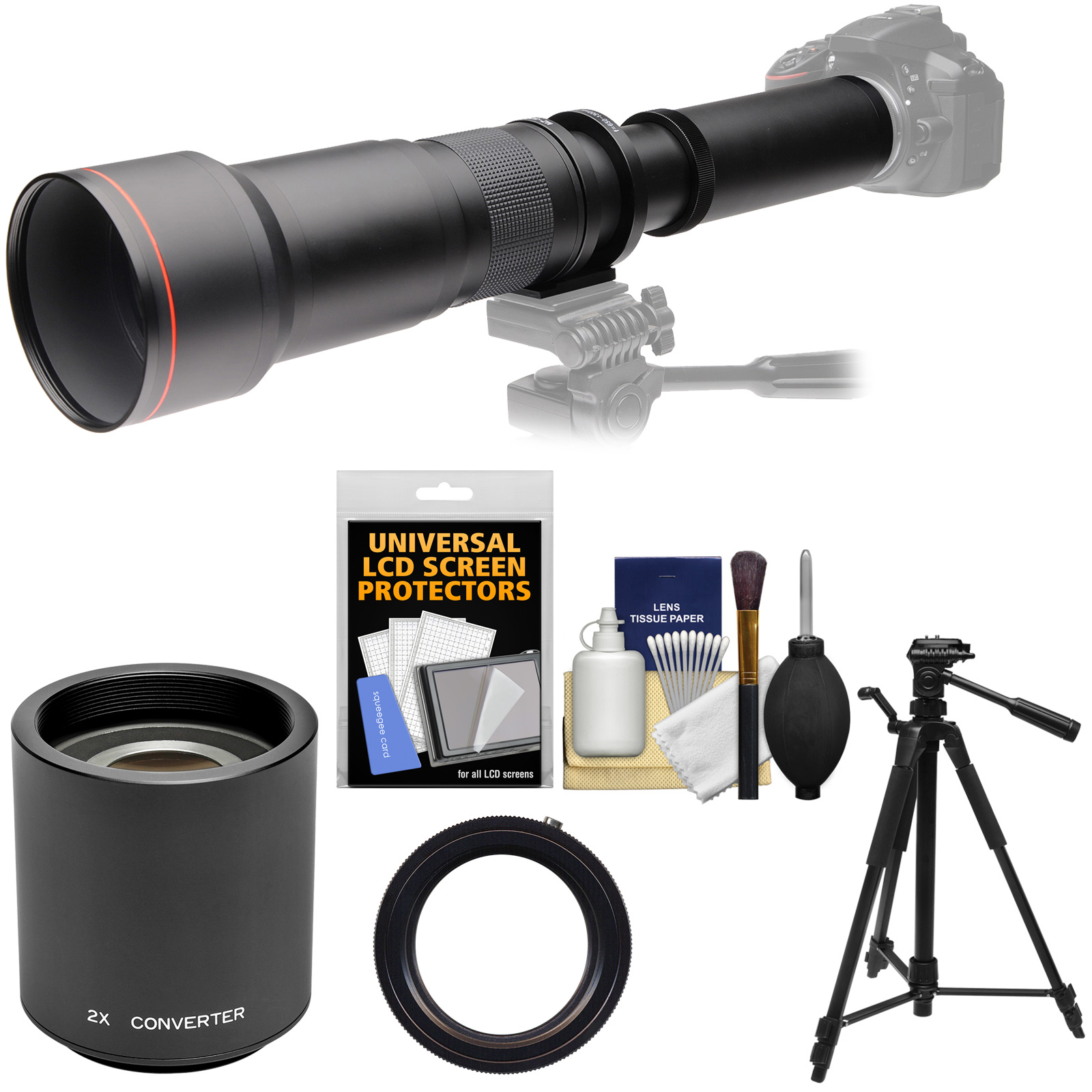 Vivitar 650-1300mm f/8-16 Telephoto Lens with 2x Teleconverter (=2600mm) + Tripod + Kit for Canon EOS Rebel SL1, T3, T3i, T5, T5i, 70D, 6D, 7D 5D Mark II III Camera