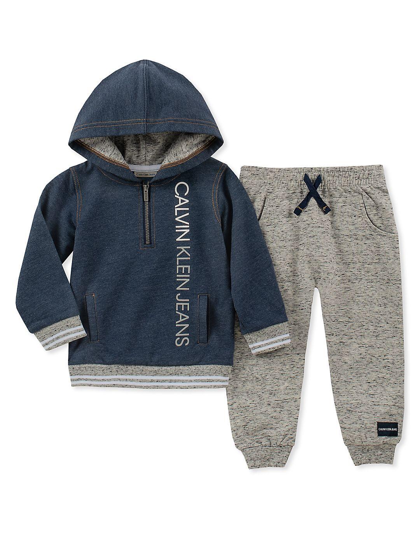 Baby Boy's Two-Piece Quarter-Zip Ringer Hoodie & Sweatpants Set