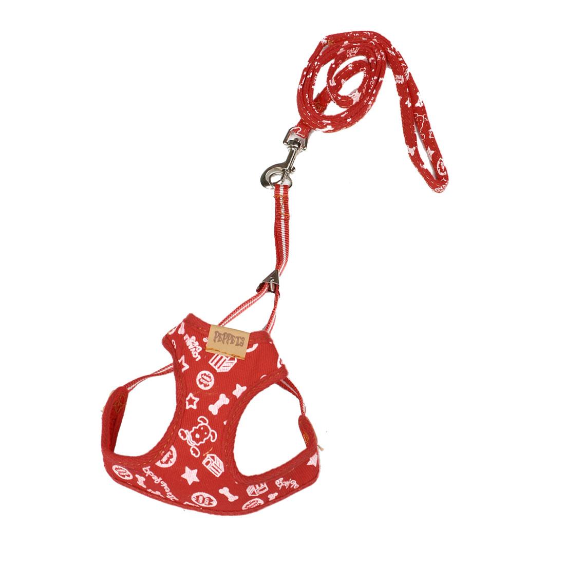 Star Print Adjustable Pet Puppy Dog Harness Vest Set Size XS w Leash