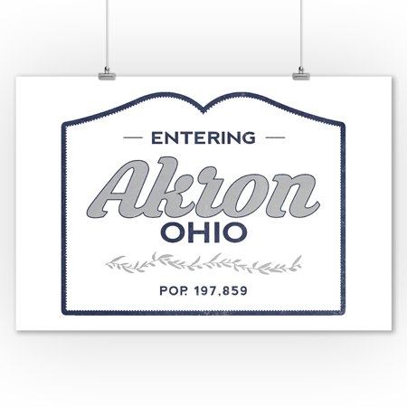 Akron, Ohio - Now Entering (Blue) - Lantern Press Artwork (9x12 Art Print, Wall Decor Travel Poster)](Halloween Stores In Akron Ohio)