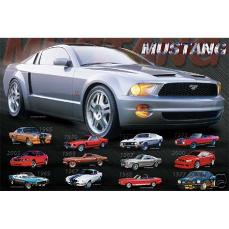 Mustang Evolution Collage Poster History Car 16x20 New