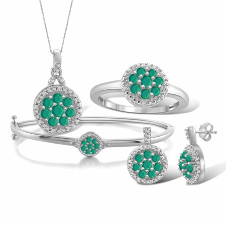 2 1/2 Carat T.G.W. Emerald And White Diamond Accent Sterling Silver 4-Piece Cluster Jewelry Set 12 Piece Indian Bangle Set