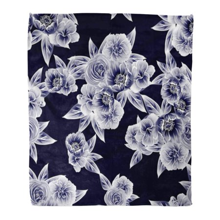 SIDONKU Flannel Throw Blanket Beautiful Abstract Elegance Floral Beauty Bloom Blossom Botanical Bouquet Soft for Bed Sofa and Couch 50x60 Inches ()