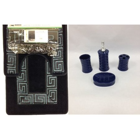 19 piece bath accessory set greek key navy blue bathroom for Navy bathroom accessory sets