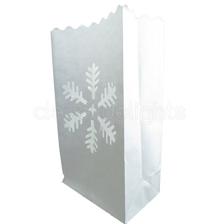 CleverDelights White Luminary Bags - 10 Count - Snowflake Design