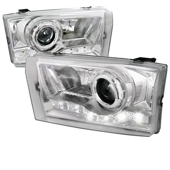 Spec-D Tuning LHP-F25099-RS LED Projector Headlight for 99 to 04 Ford F250, Chrome - 9 x 14 x 17 in.
