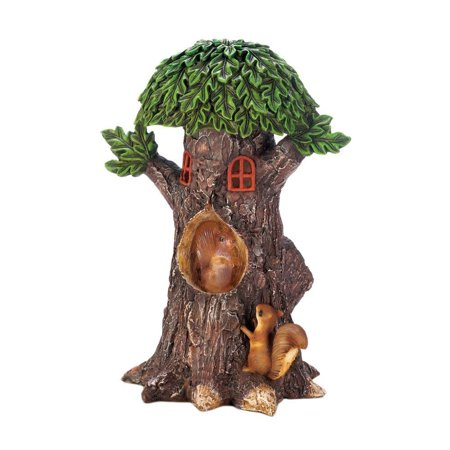 Playful Squirrels - Solar Garden Statues, Playful Squirrels Treehouse Small Lawn Yard Solar Statues