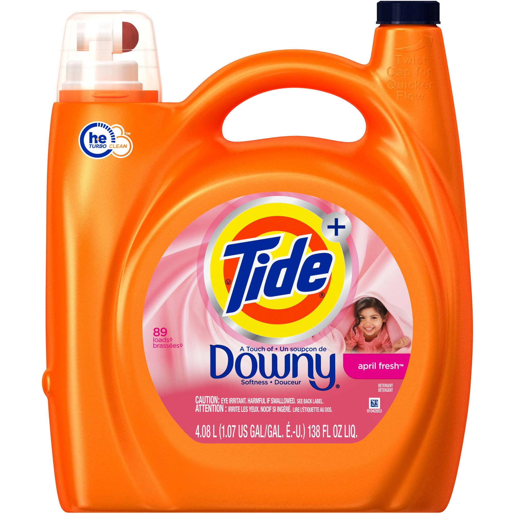 Tide Plus Downy April Fresh Scent HE Turbo Clean Liquid Laundry Detergent, 72 Loads 138 oz