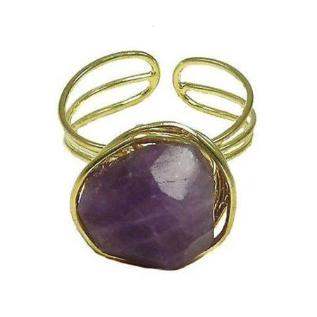 - Agate Chunk Statement Ring in Plum